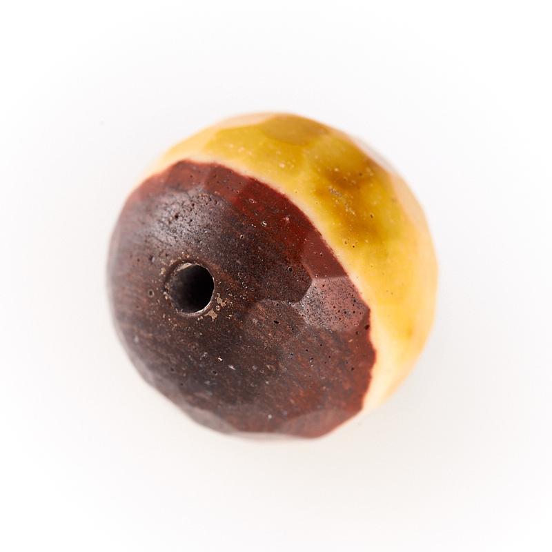 Бусина яшма мукаит желтый  шарик 9,5-10 мм огранка (1 шт) бусина коралл красный сплюснутый шар 5 5 6 мм огранка 1 шт