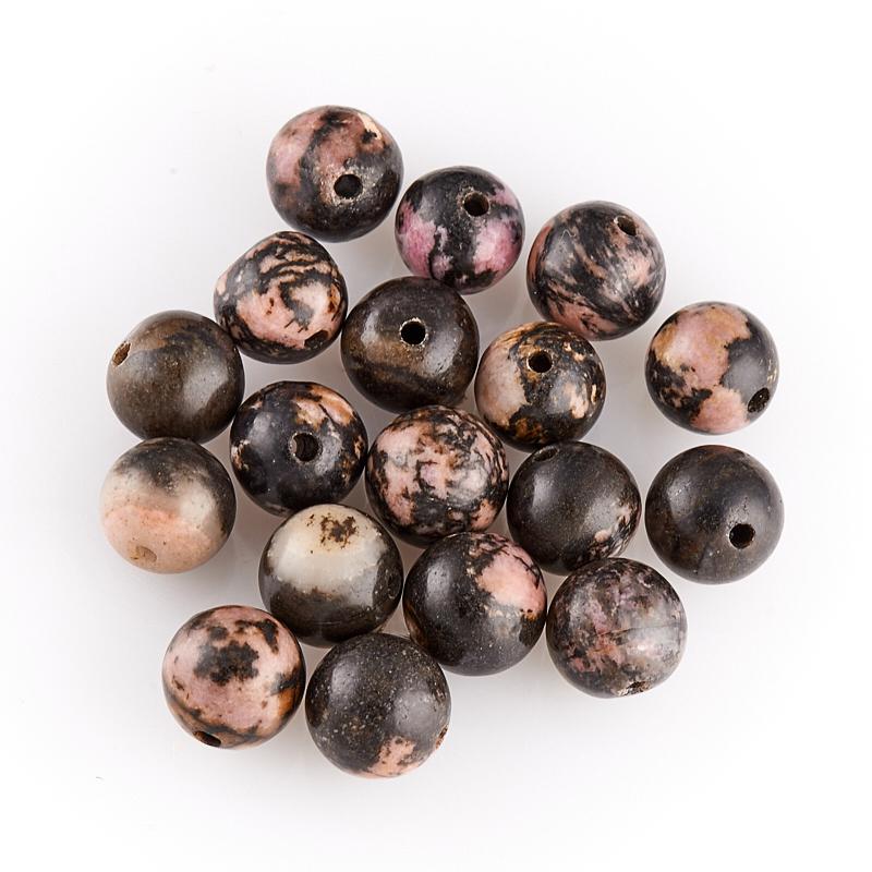 Подробнее о Бусина родонит черный  шарик 7,5-8 мм (1 шт) бусина родонит черный шарик 4 5 мм 1 шт
