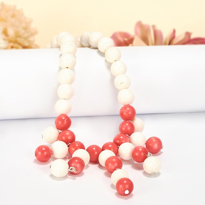 Бусы коралл белый, розовый  10 мм 50-60 см