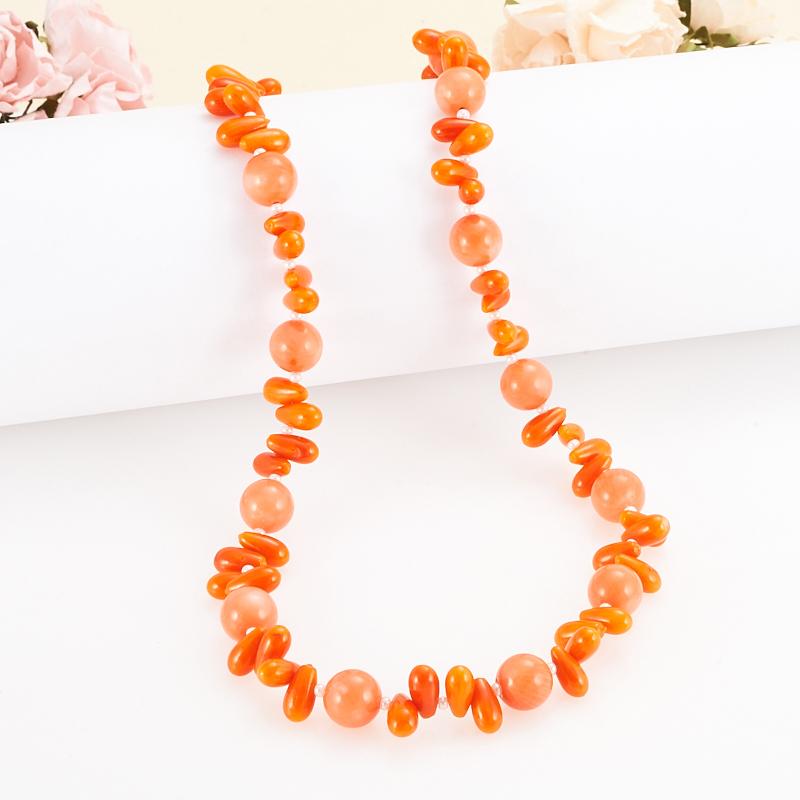 Бусы длинные коралл оранжевый  62-71 см