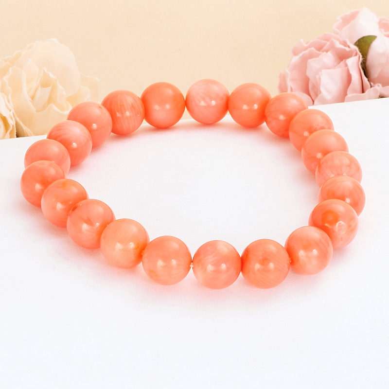 Браслет коралл розовый  9 мм 17 cм