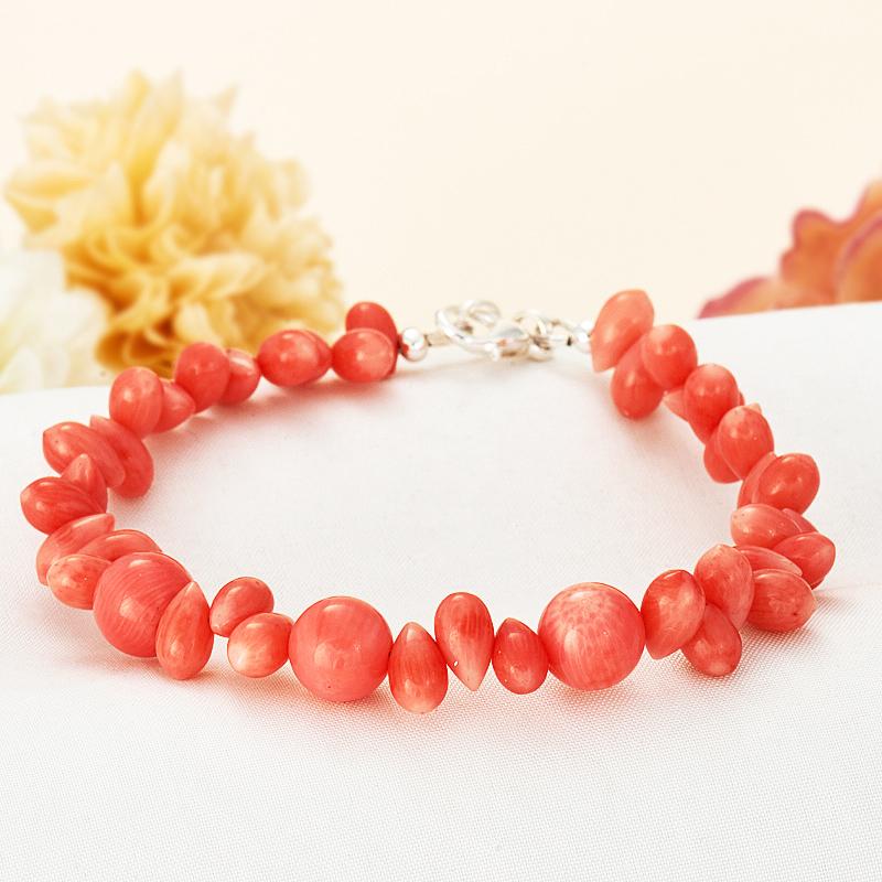 Браслет коралл розовый  15 cм