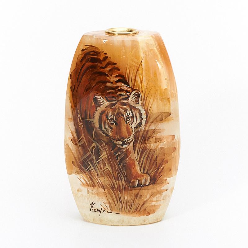Ваза c тигром селенит  4,5x8,5x14 см