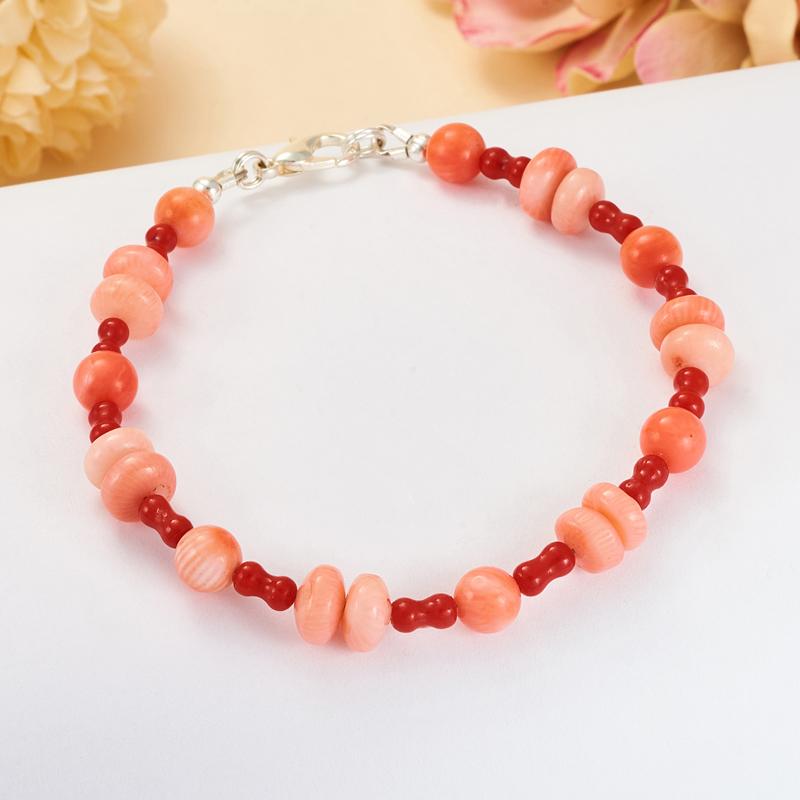 Браслет коралл розовый, красный  18 cм