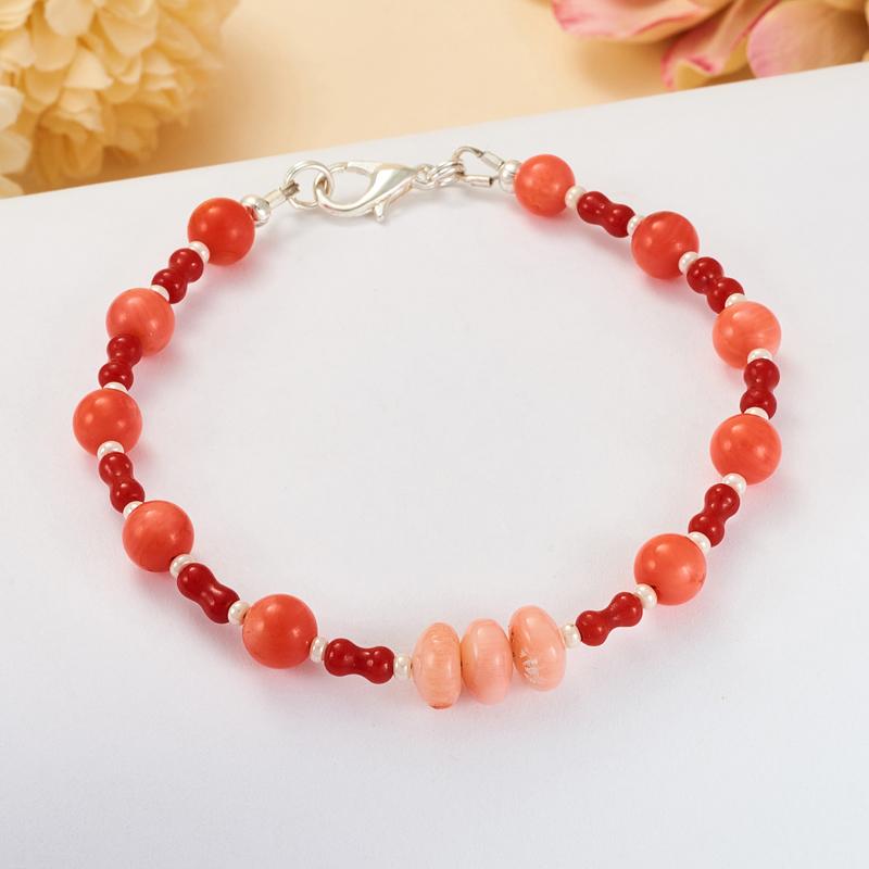 Браслет коралл красный, розовый  16 cм