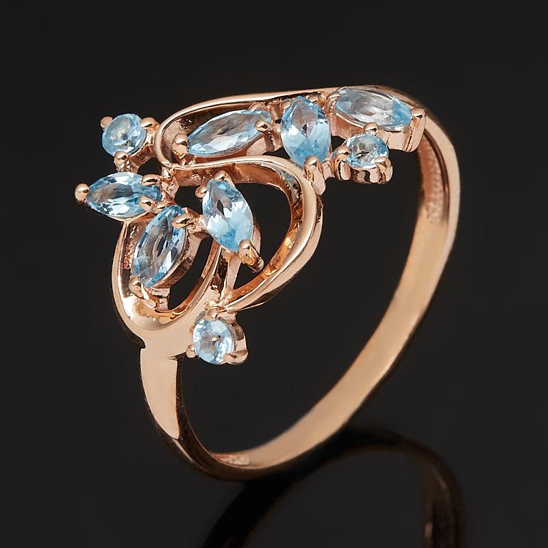 Кольцо топаз swiss огранка (серебро 925 пр., позолота) размер 18,5