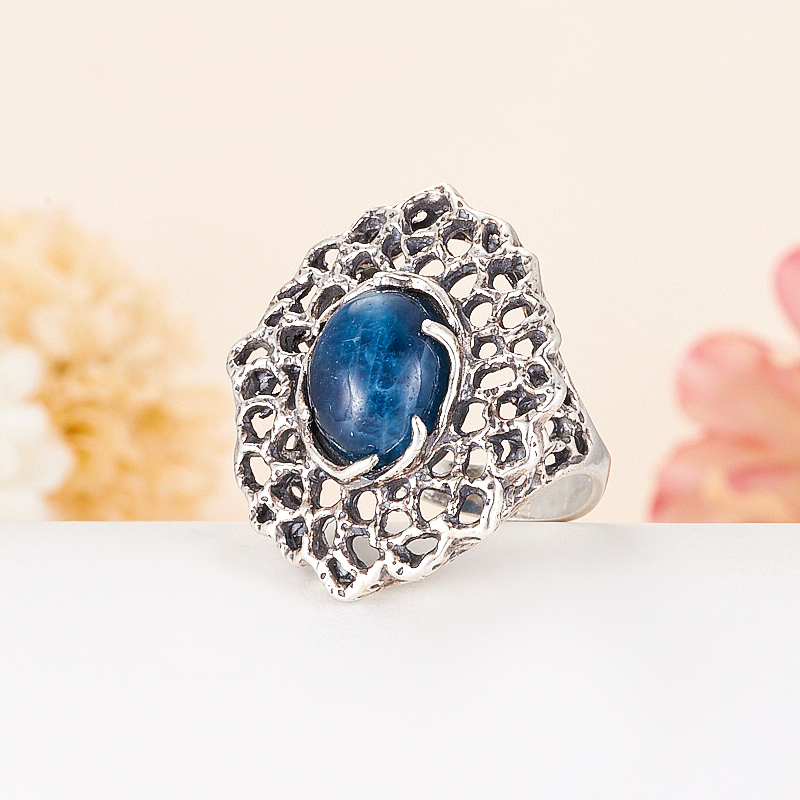 [del] Кольцо апатит синий Бразилия (серебро 925 пр.) размер 22,5
