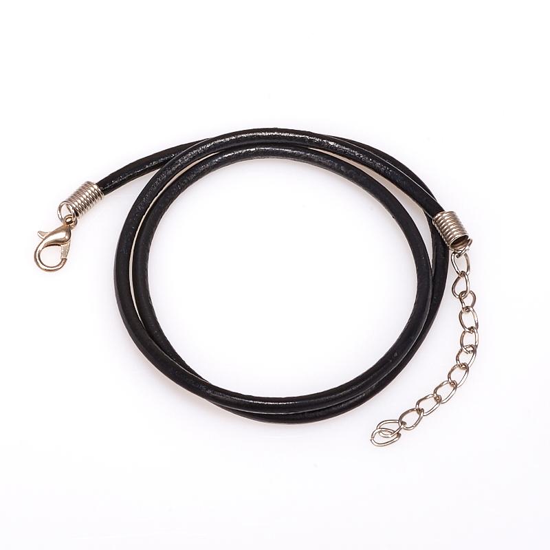 Шнурок черный 45-49 см (иск. кожа)