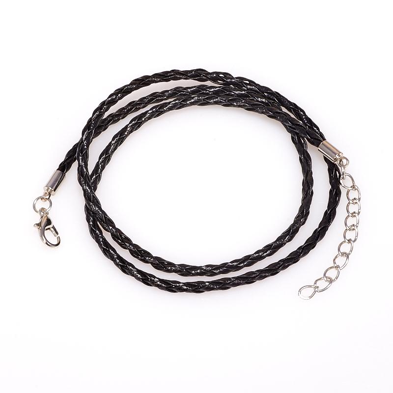 Шнурок плетеный черный 46-50 см (иск. кожа)