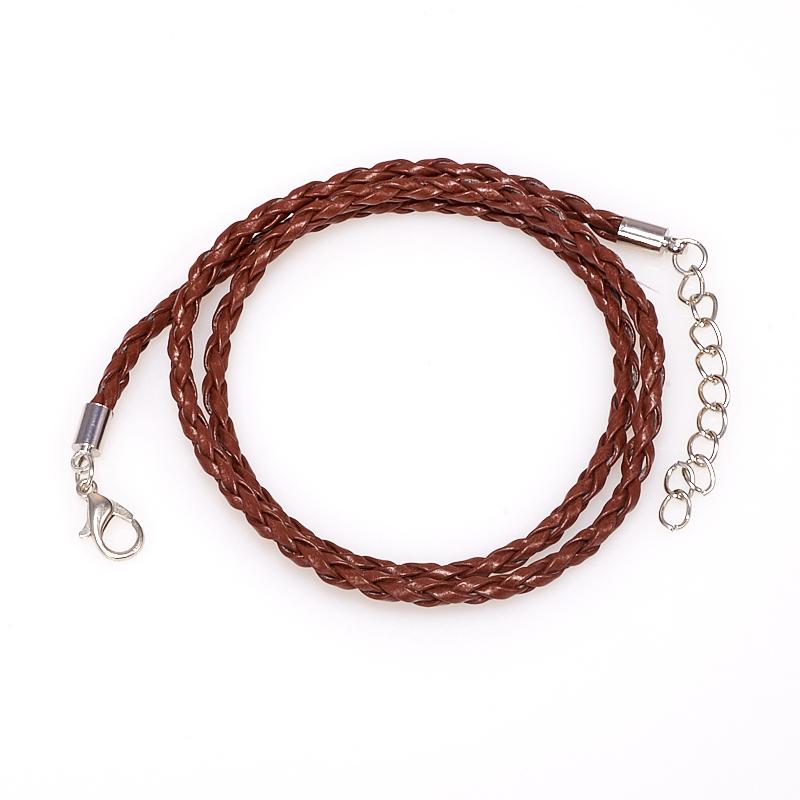Шнурок плетеный коричневый 45-49 см (иск.кожа)