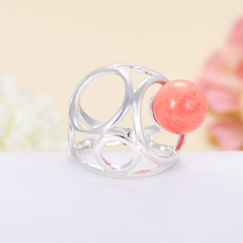 Кольцо коралл розовый  (серебро 925 пр.) размер 17