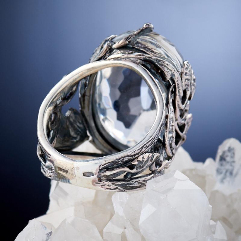 [del] Кольцо горный хрусталь Бразилия огранка (серебро 925 пр.) размер 14