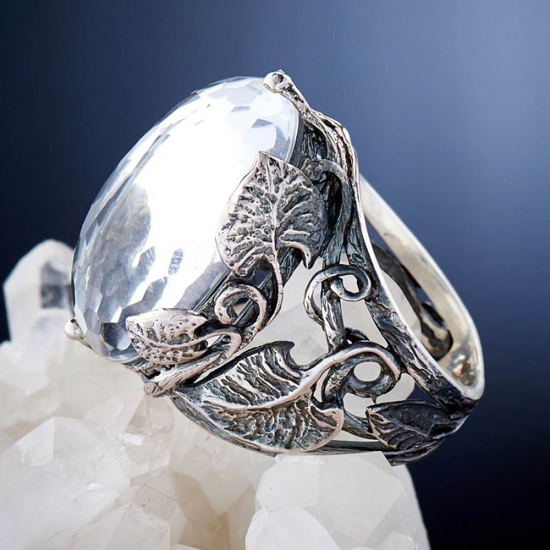 [del] Кольцо горный хрусталь Бразилия огранка (серебро 925 пр.) размер 17,5