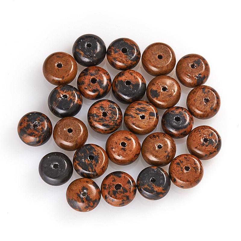 Бусина обсидиан коричневый  сплюснутый шар 8 мм (1 шт) бусина коралл красный сплюснутый шар 6 6 5 мм огранка 1 шт