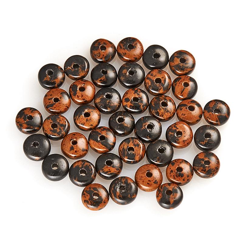 Бусина обсидиан коричневый  сплюснутый шар 6 мм (1 шт)