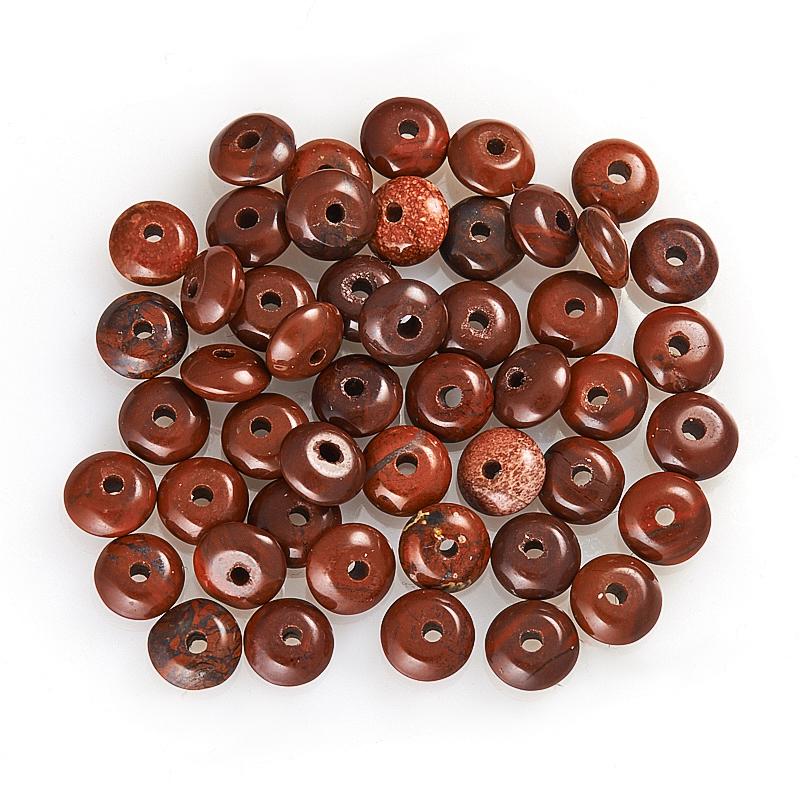 Бусина яшма брекчиевая  сплюснутый шар 6 мм (1 шт) бусина сердолик светлый прозрачный сплюснутый шар 6 5 мм 1 шт