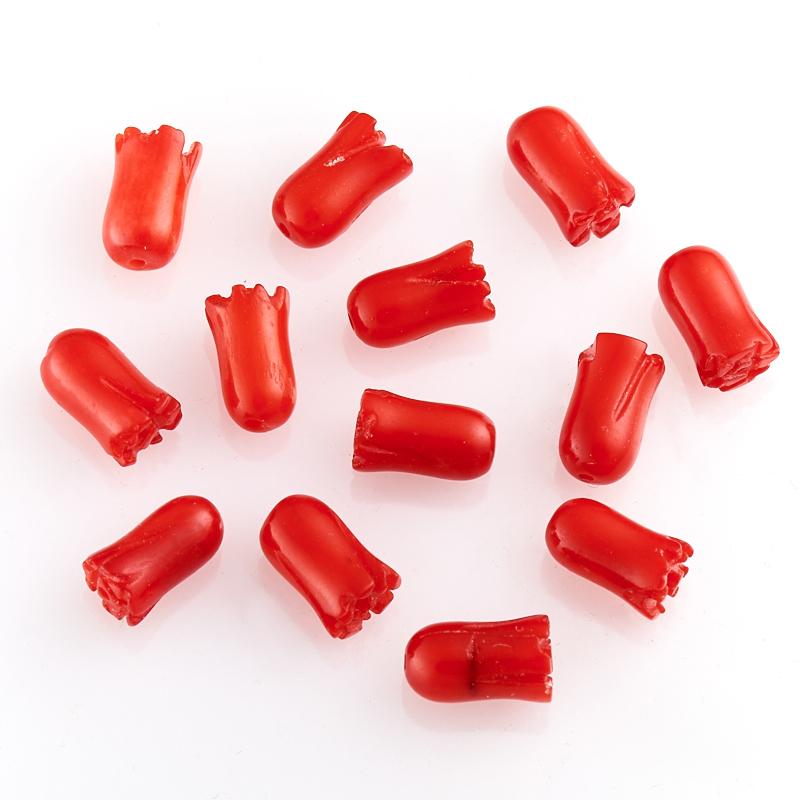 Бусина коралл красный  цветочек 5*8,5 мм (1 шт)
