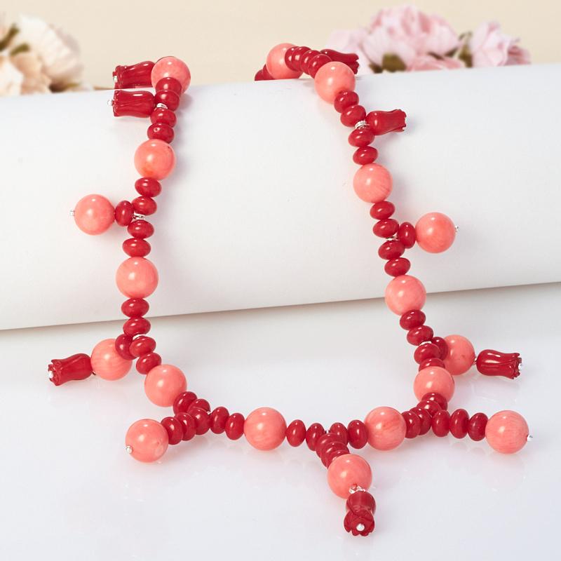 Бусы длинные коралл красный, розовый  64-74 см