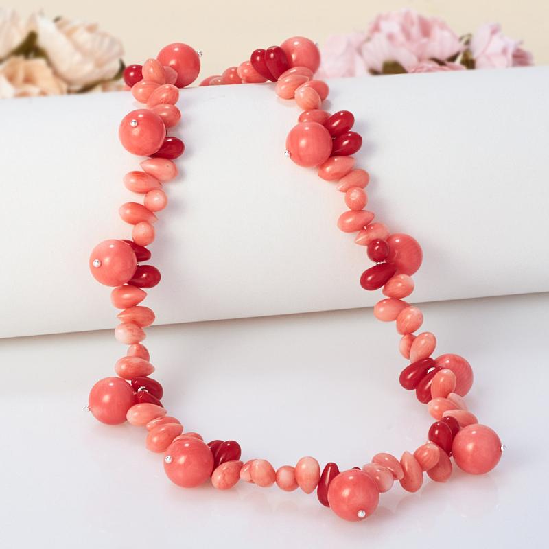 Бусы длинные коралл розовый  75-85 см