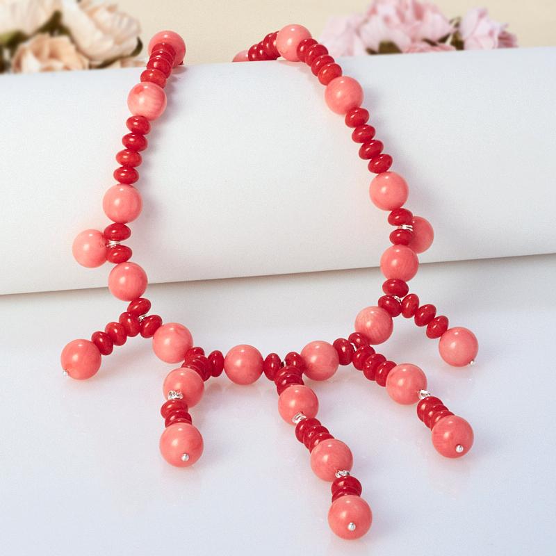 Бусы коралл красный, розовый  58-68 см