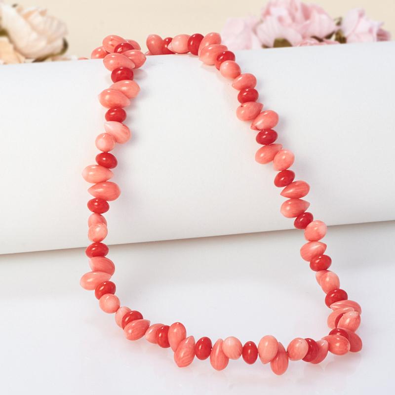 Бусы длинные коралл красный, розовый  79-89 см