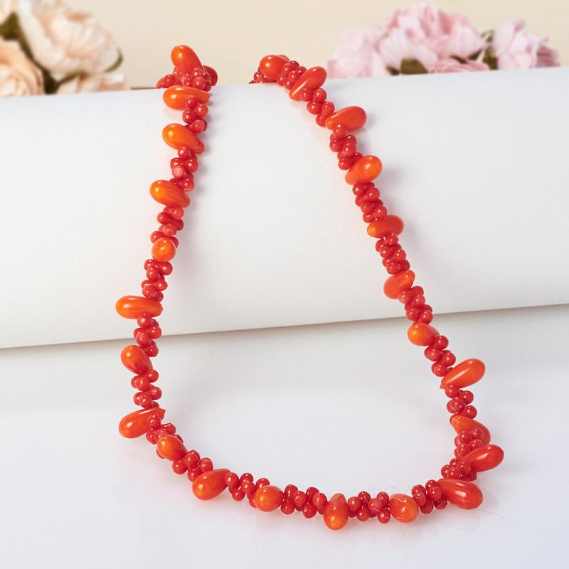 Бусы длинные коралл красный, оранжевый  75-85 см
