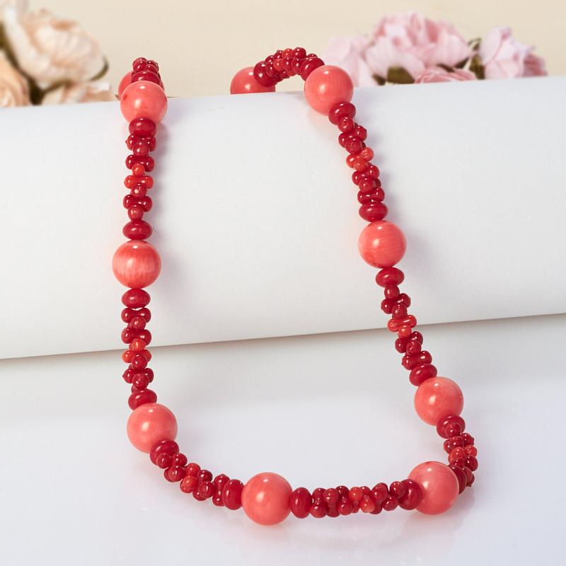 Бусы коралл красный, розовый  56-66 см