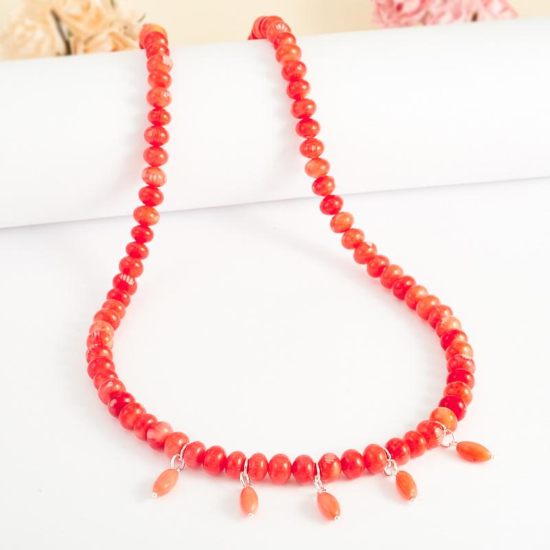 Бусы коралл оранжевый  59-69 см