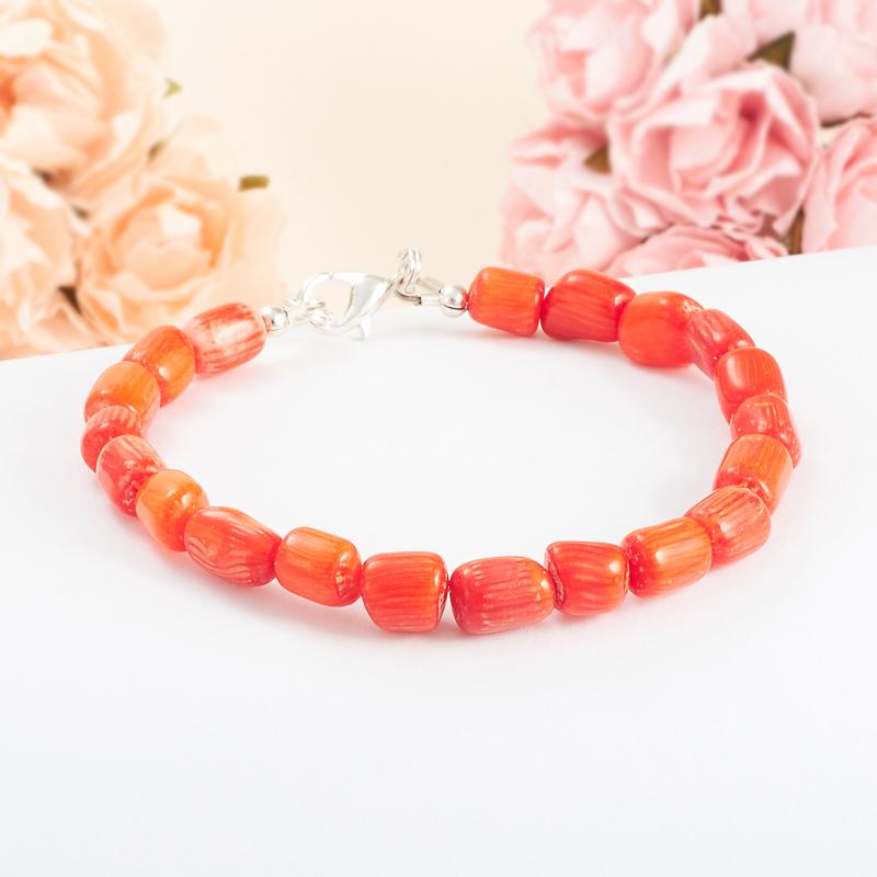 Браслет коралл оранжевый  18 cм
