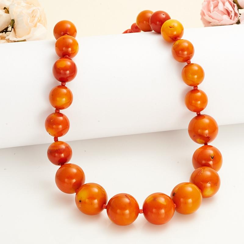 Бусы коралл оранжевый  43 см