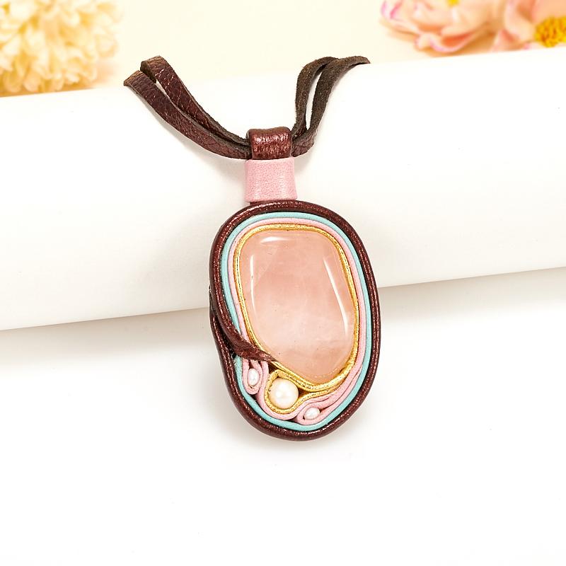 Подвеска розовый кварц, жемчуг (натуральная кожа)
