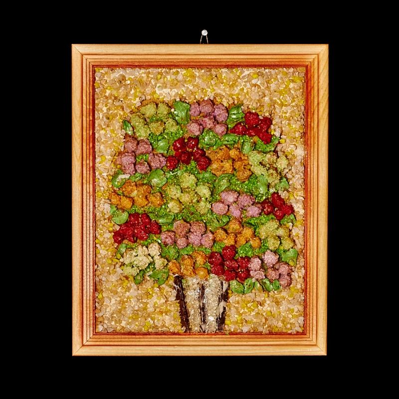 Картина из натуральных камней Букет объемных цветков 27х22 см