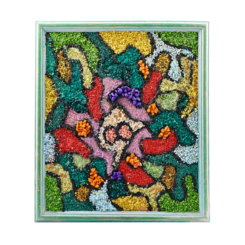 цена на Картина из натуральных камней Мозаика в шунгитовой сетке 23х26 см