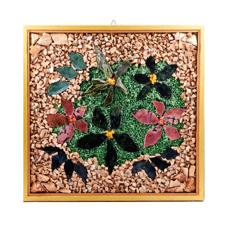 Картина из натуральных камней Панно из лепестков и крошки 36х35 см