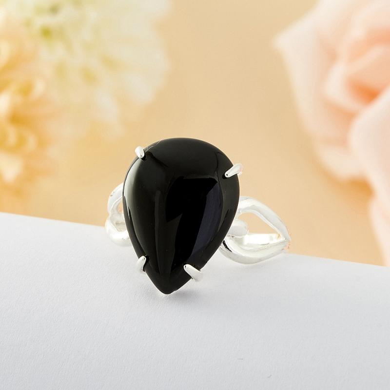 Кольцо агат черный  (серебро 925 пр.) размер 16