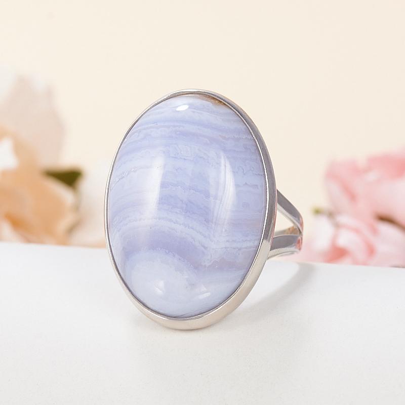 Кольцо агат голубой (серебро 925 пр.) размер 18 серьги агат серый серебро 925 пр