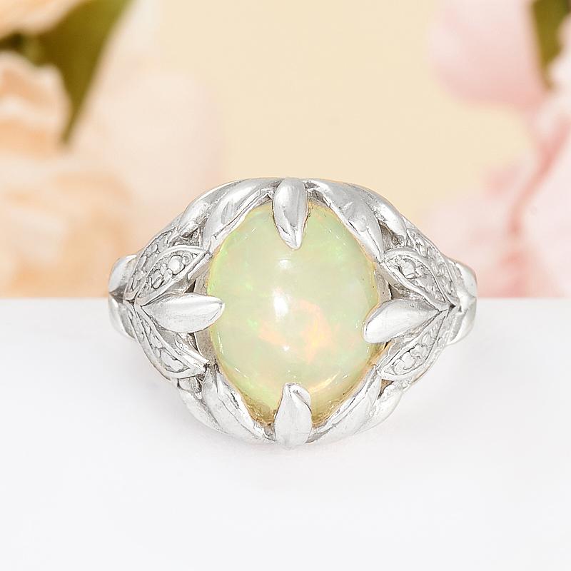 Кольцо опал благородный белый  (серебро 925 пр.) размер 16