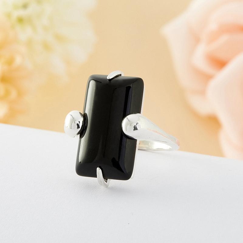 Кольцо агат черный  (серебро)  размер 19