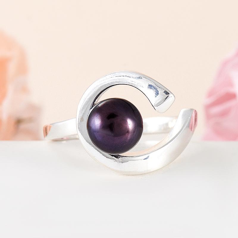 Кольцо жемчуг черный  (серебро 925 пр.) размер 19