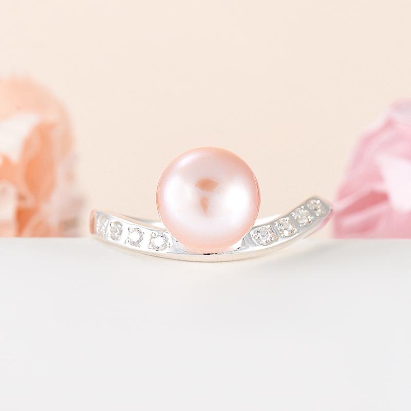 Кольцо жемчуг персиковый (серебро 925 пр.) размер 17,5