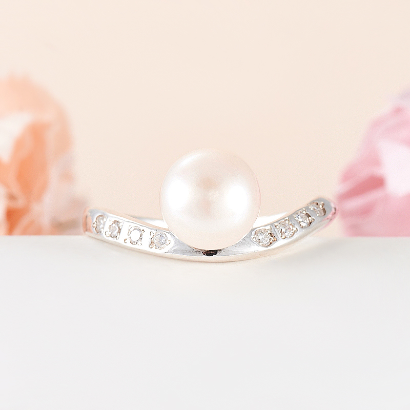 Кольцо жемчуг белый  (серебро 925 пр.) размер 18 кольцо авантюрин зеленый серебро 925 пр размер 18