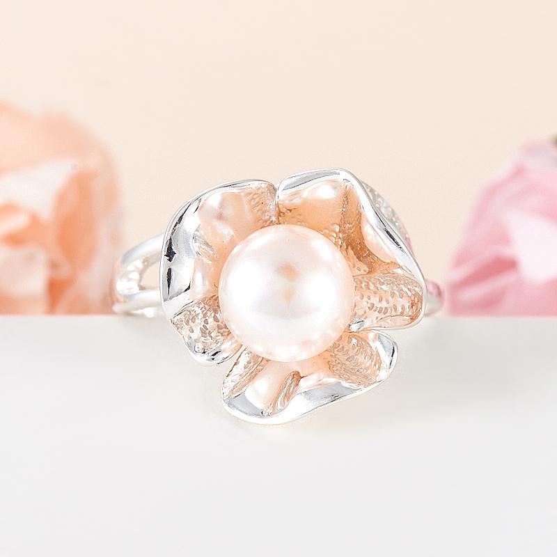 Кольцо жемчуг белый  (серебро 925 пр.) размер 20