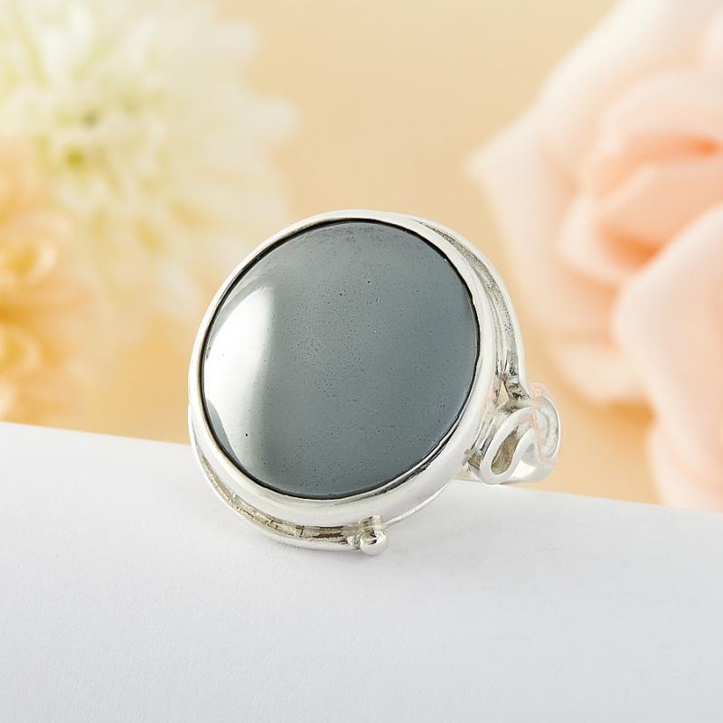 Кольцо Гематит Бразилия (серебро)  размер 17