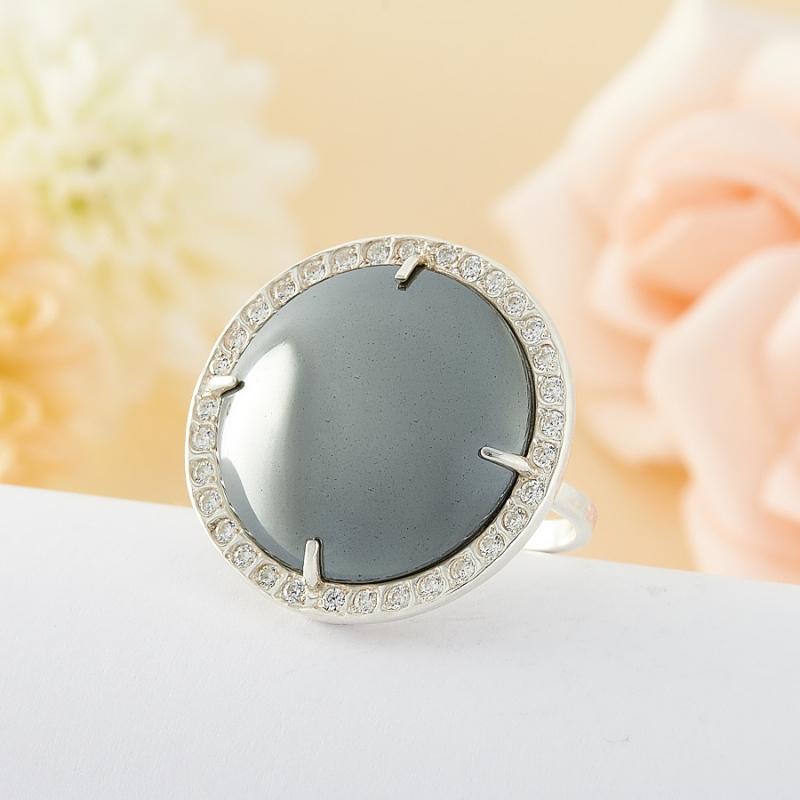 Кольцо Гематит Бразилия (серебро)  размер 19,5