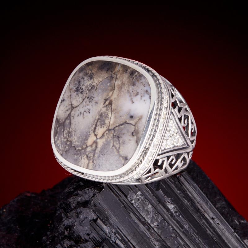Кольцо агат пейзажный (серебро 925 пр.) размер 19 серьги агат серый серебро 925 пр