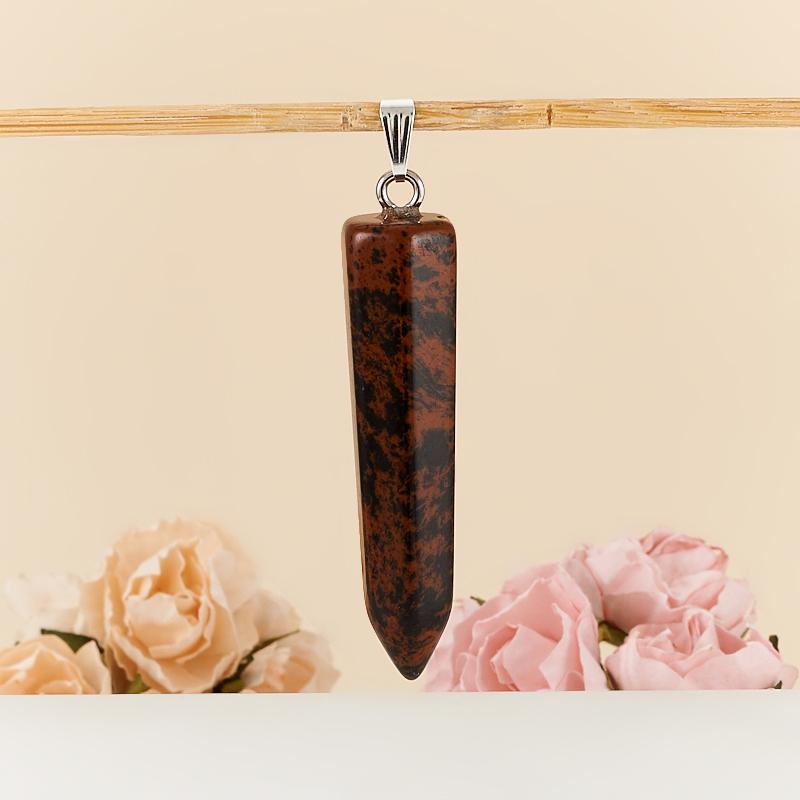 Кулон обсидиан коричневый  6 см