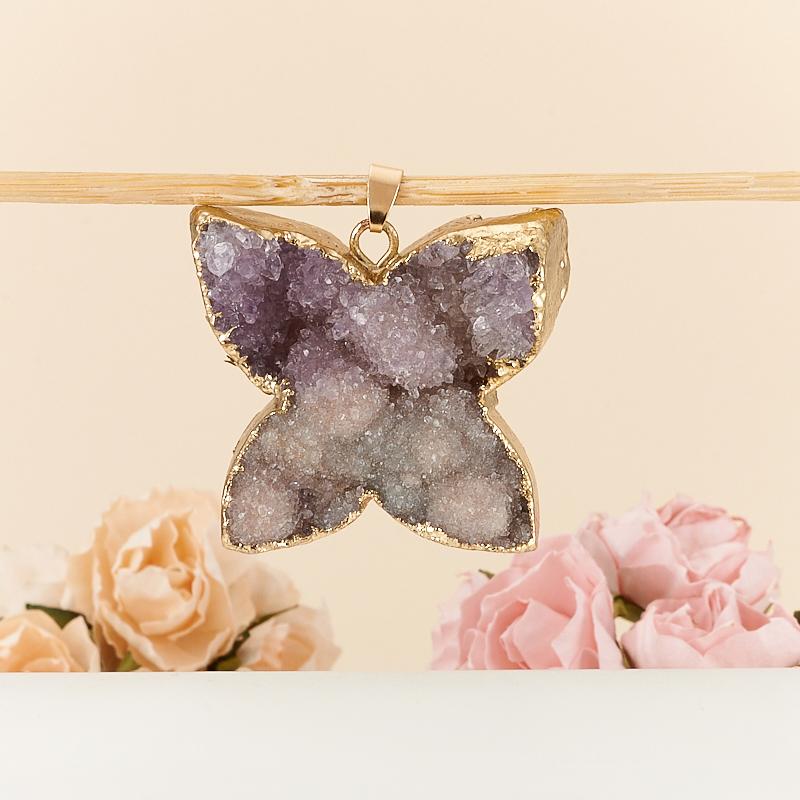 Кулон щетка бабочка аметист  3-4 см