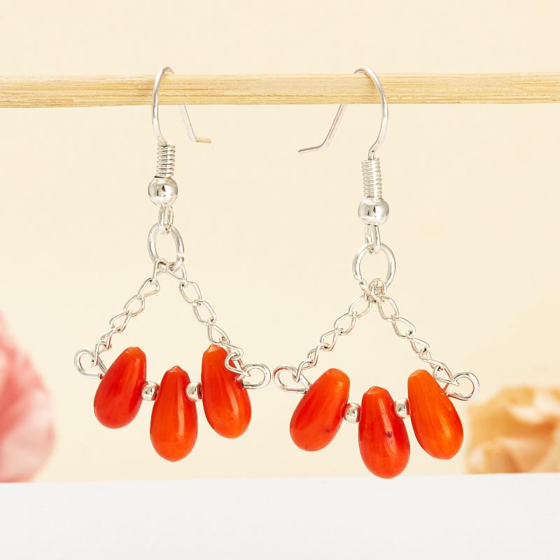 Серьги коралл оранжевый