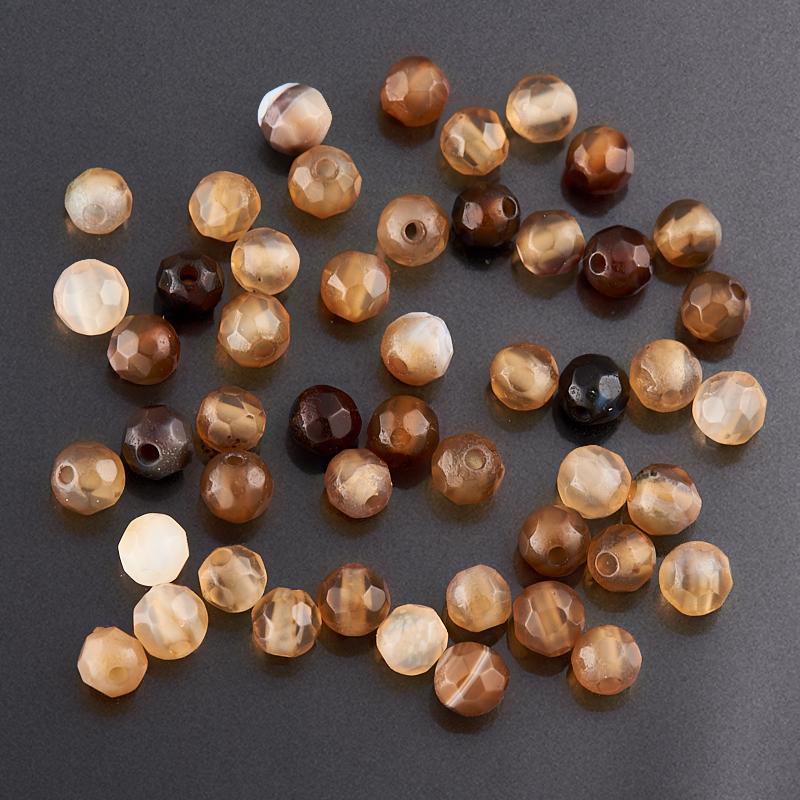 Бусина агат  шарик 2,5-3 мм огранка (1 шт)