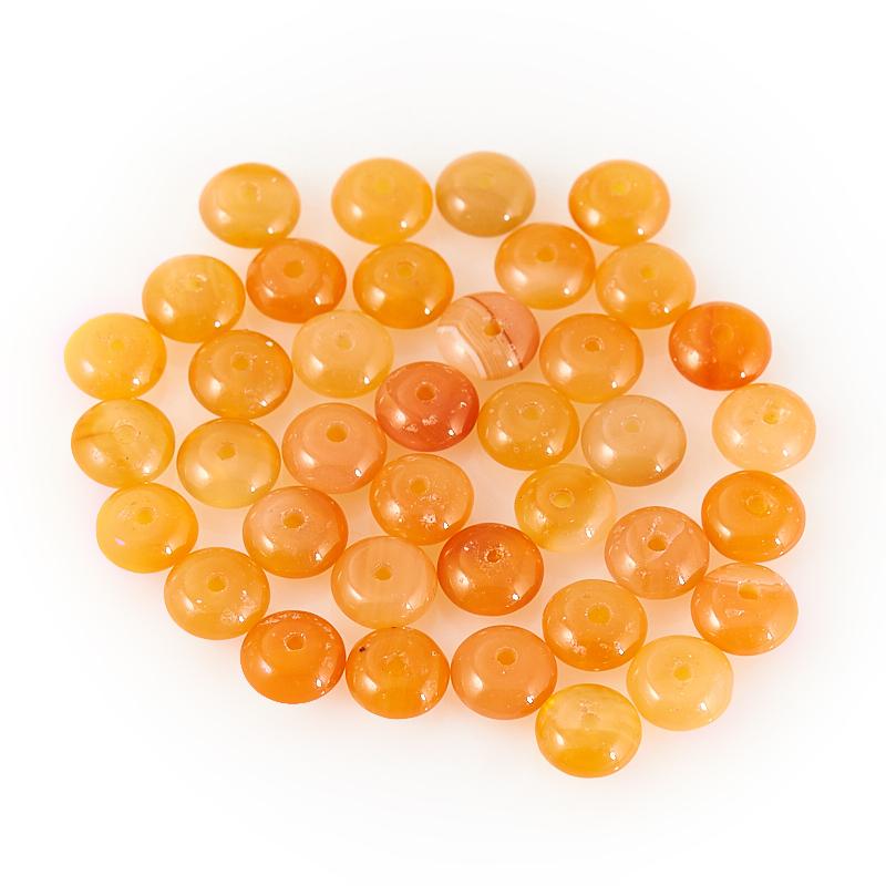 Бусина сердолик оранжевый  сплюснутый шар 6,5 мм (1 шт)